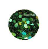 hexagon stredný zelený HOLOGRAFIC