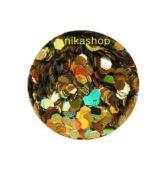 hexagon stredný zlatý HOLOGRAFIC