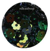 Konfety zelený kvietok holografic s dierkou
