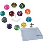 Sada hexagon stredný holografic.12ks v dózičkách + box